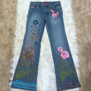 Bebe Flare Wide Leg Jean Floral Embroidery Vintage